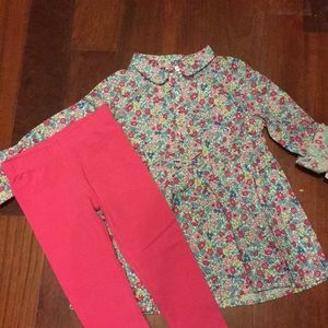 NWT Carter's floral blouse 2T with leggings set